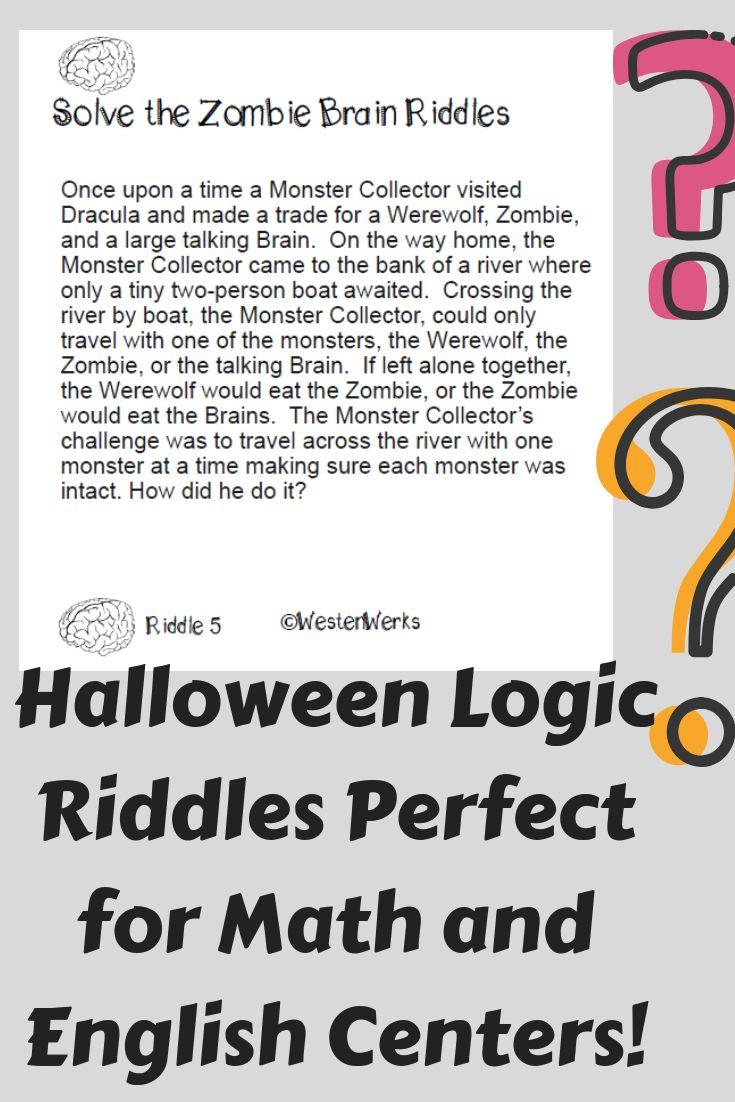 Halloween Logic Puzzles Math Riddles Math riddles, Math