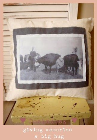 giving memories a big hug; a handmade linen pillow by Doekedoek with the picture of sweet memories