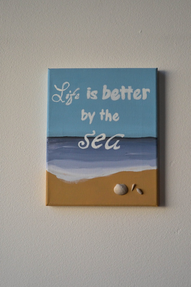 Life is better by the Sea Painting on Canvas with Real Seashells. $16.00, via Etsy.