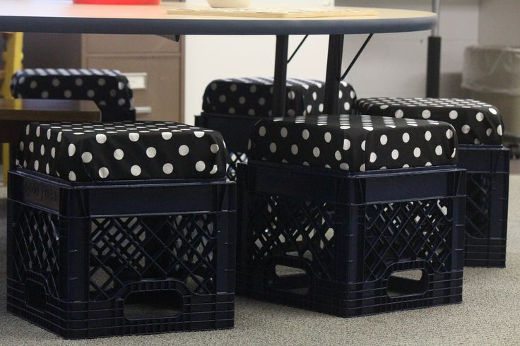 "I made new ""Milk Crate"" chairs for my reading table...  black crates spray painted navy.  Upholstered wood cut into 14x14 (or sized to match the top of your crates) and then bolted them with washers to the crates... I used 3 inch foam btw but you can use thinner..."