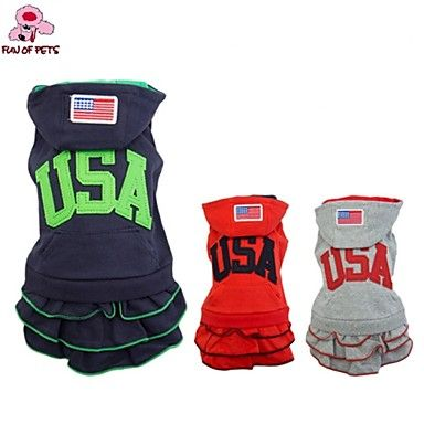 Dog+Hoodie+/+Dress+Red+/+Blue+/+Gray+Dog+Clothes+Winter+/+Spring/Fall+American/USA+Fashion+/+Sports+–+USD+$+14.99