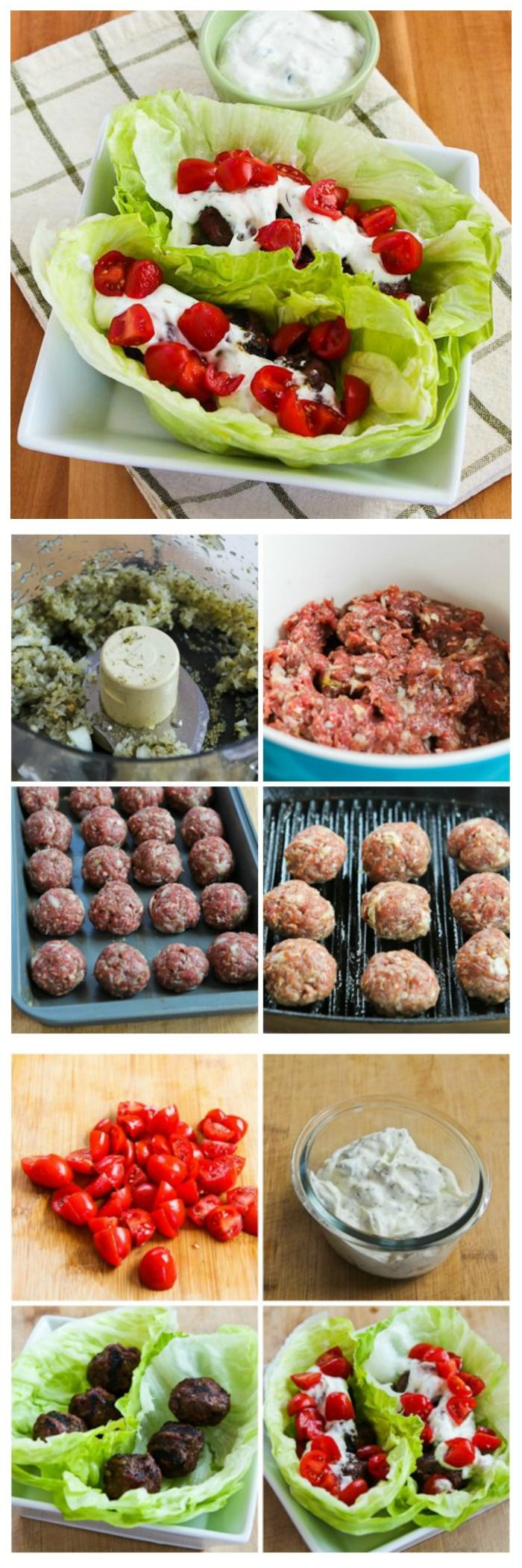Gyro Meatball Lettuce Wraps have all the delicious flavors that makes Gyros so good, but none of the carbs!  This is a perfect meal to jump-start a lower-carb eating plan.  [from KalynsKitchen.com] #LowCarb #GlutenFree