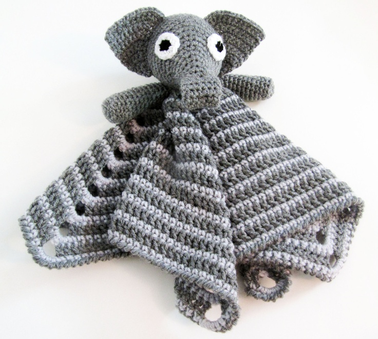 Crochet Pattern For Elephant Blanket : Elephant Lovey CROCHET PATTERN instant download - blankey ...