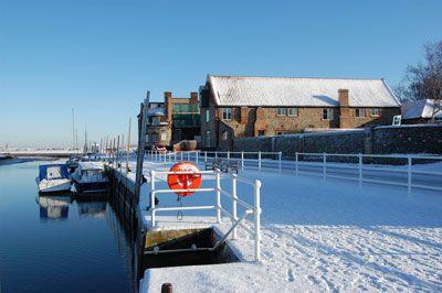 Blakeney Quay North Norfolk in the snow