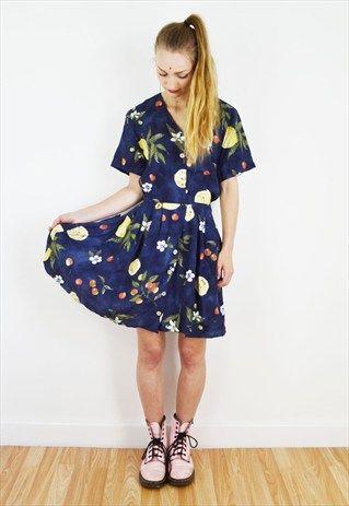 90's+Fruity+Navy+Blue+Lemon+Floral+Summer+Dress