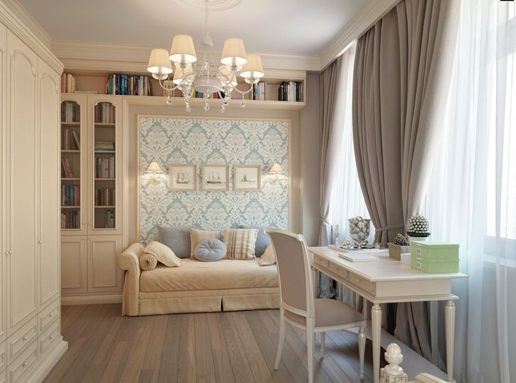 home blue wallpaper brown curtains bedroom inspiration