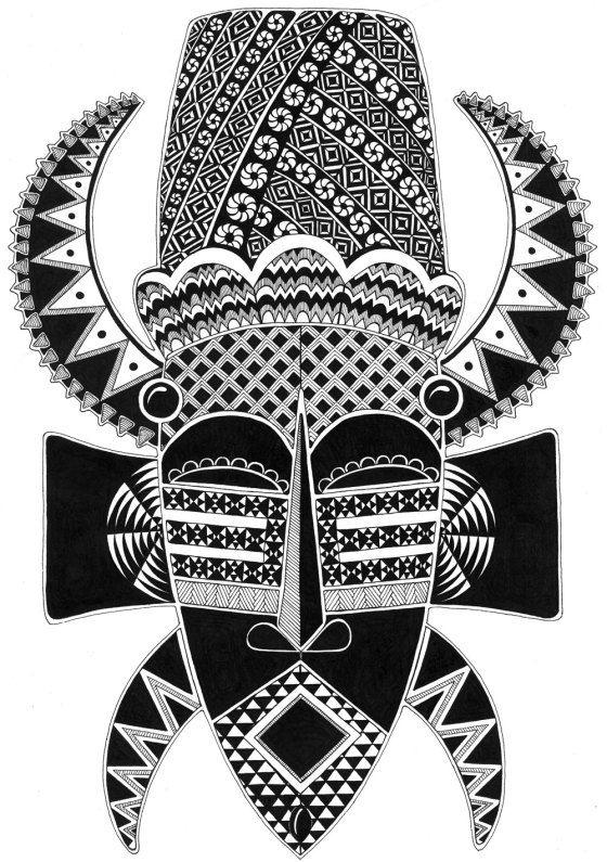 Zentangle Inspired Art - African Mask. [spam check ok ;) Mo]