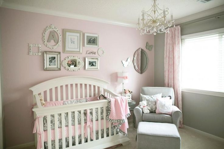 beautiful....Lovely little girls Nursery! <3 I am such a sucker for a sweet chandelier! The wall display is perfect for this room as well! Great combinations.