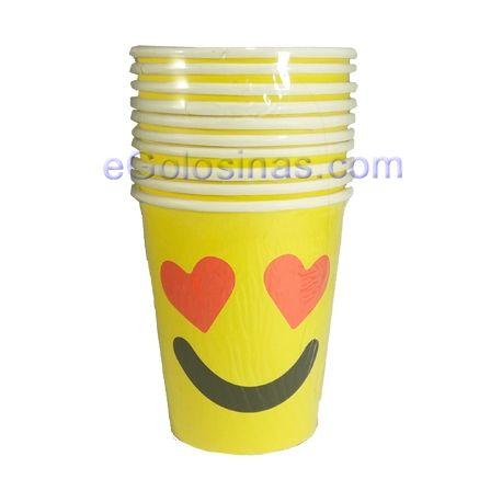 10 vasos de cartón para tu fiesta Emoji o Emoticonos. Son desechables.