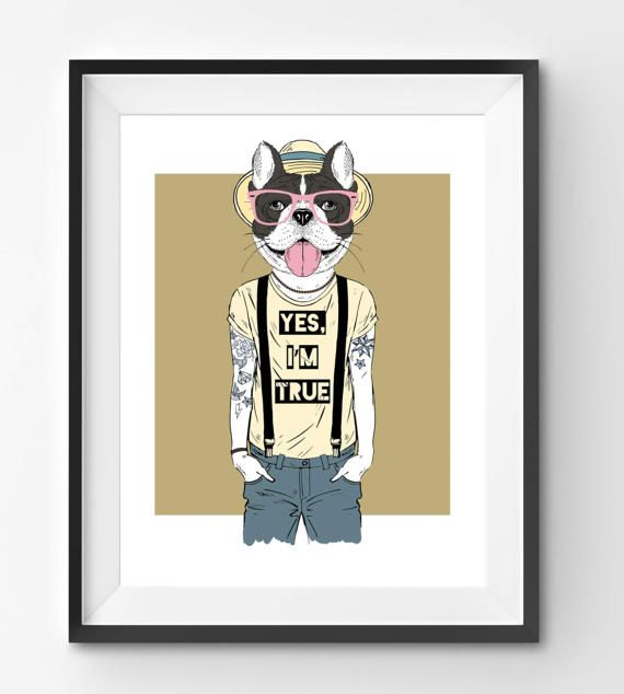 Male Bulldog with Tattoos Animal Print Fashion Animal