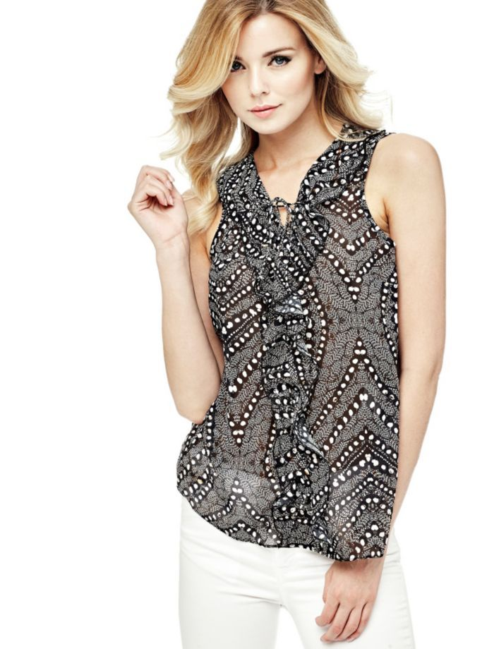 EUR69.90$  Watch now - http://vidxx.justgood.pw/vig/item.php?t=0u6idwr33388 - PRINTED TOP WITH FRILL EUR69.90$
