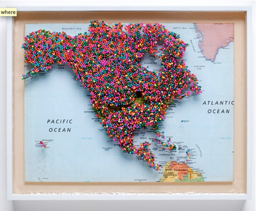 evan drolet cook places i havent been north america 2011 map pins resin wood 18 x 24 in