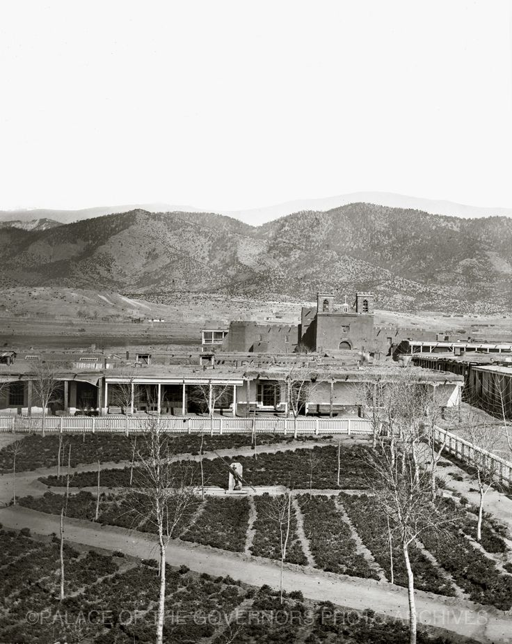 #VintageSantaFe  View of the Santa Fe Plaza and Cathedral Before Installation of Clock Santa Fe, New Mexico - 1866 Photo By: Nicholas Brown Negative #038025
