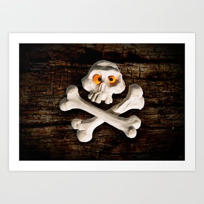 Mr. Skull Art Print by Martin Misik - $15.00 // #skull #wood #skeleton #plasticine #clay #sculpting #funny #bones #yellow #eye