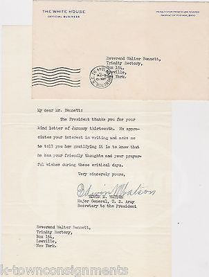 EDWIN WATSON ARMY MAJOR GENERAL PRESIDENT ROOSEVELT AIDE AUTOGRAPH SIGNED LETTER