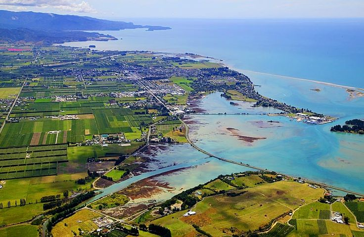 Motueka, with Motueka Inlet in the foreground, see more, learn more, at New Zealand Journeys app for iPad www.gopix.co.nz