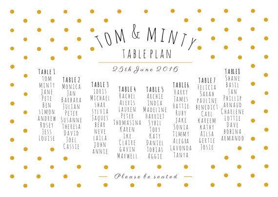 Printable wedding seating chart, gold polka dot table plan, digital download, personalized, custom, table plan