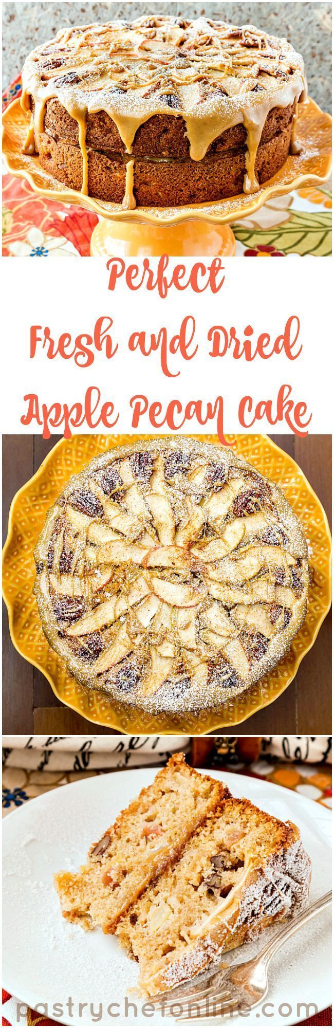 "This perfect fresh and dried apple and pecan cake recipe is one you need to have in your recipe file. With a fruit and nut-embellished top layer, this ""naked cake"" is both rustic and elegant. The dulce de leche glaze is the literal and figurative icing on the cake! 