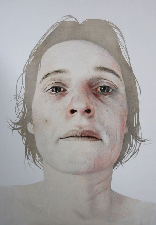 Annemarie Busschers - Beyond Grief, 2011, pencil, acrylic . Busschers raw realistic portraits and self-portraits mirror today's self-obsession, the self-centeredness of the child, we haven't outgrown and which is at the core of the contemporary consumerism society.