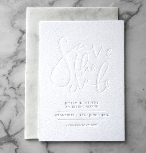 50 Hand Drawn Calligraphy Save the Date Suite. Designed and drawn by hand and then Letterpressed onto thick luxurious 300gsm Cotton Card.  Once