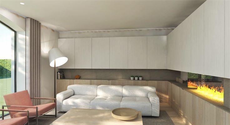 Ontwerp van een haardwand die de te grote ruimte (woonkamer en eetkamer) op een luchtige manier verdeeld. Door M-INT interieurarchitectuur.