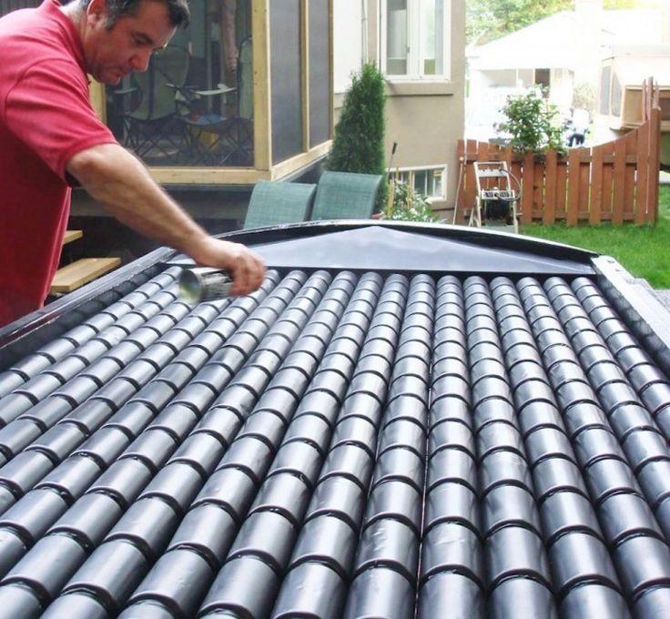 Chauffage solaire à base de cannettes