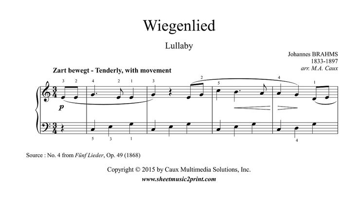 Brahms : Lullaby - Wiegenlied - Easy Piano www.sheetmusic2print.com/Brahms/Piano/Lullaby-Beginners.aspx