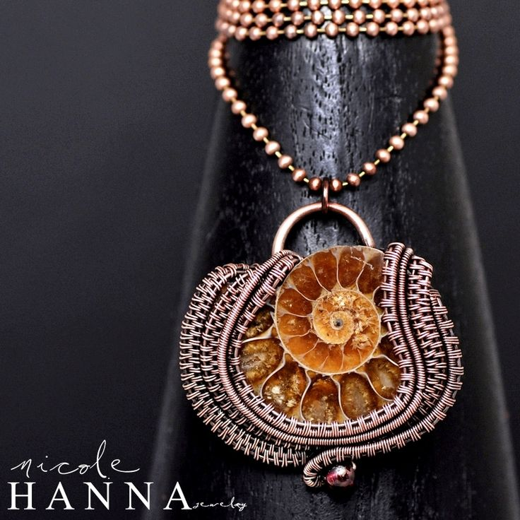 wire wrap ammonite,ammonite jewelry,ammonite pendant,copper pendant,wire work,wire wrap,wire weave, copper necklace,nicole hanna jewelry,ocean jewelry,nautical jewelry