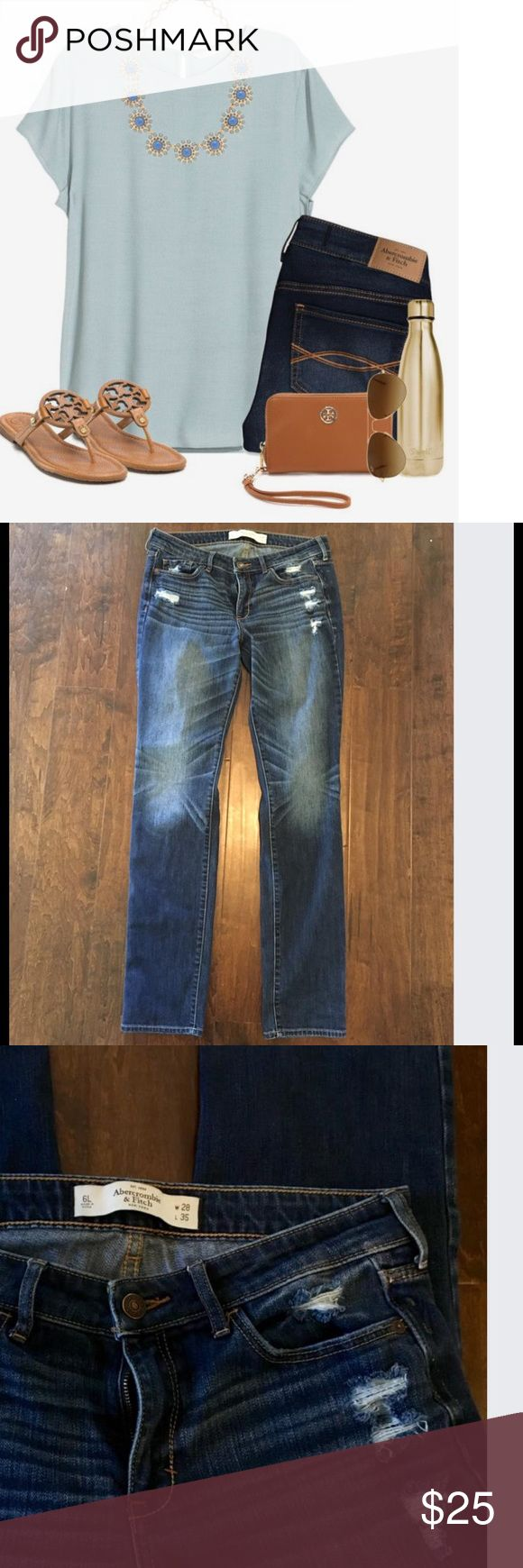 Abercrombie jeans size 6 Abercrombie jeans slight distress look, worn only a couple times. Super cute! Size 6l, I'm 5 ft 8 and the length is perfect. Abercrombie & Fitch Jeans Straight Leg