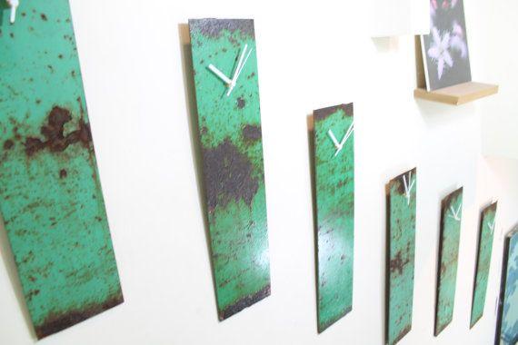 Teal clock Patina clocks Rusty Wall clock by ReformationsUK