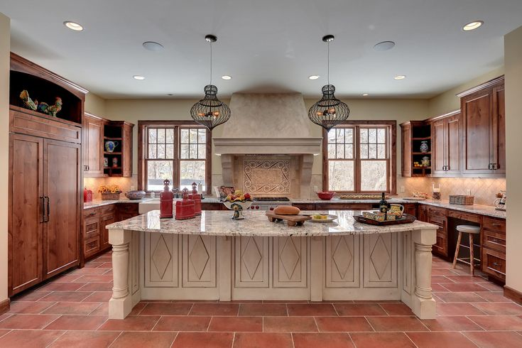 How to Make the Perfect Kitchen Island Designs: Kitchen Island Designs And Mosaic Tile Backsplash In Rustic Kitchen Ideas Design With Terracota Tile Flooring And Painted Ceiling Also Counter Stool
