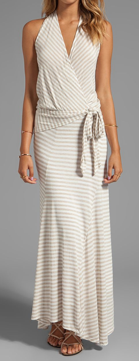 Stripes wrap maxi dress, women fashion outfit clothing style apparel @roressclothes closet ideas