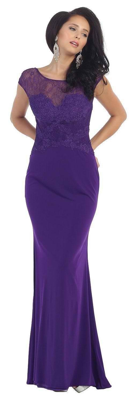 Long Cap Sleeve Lace Applique Formal Evening Dress - The Dress Outlet - 4