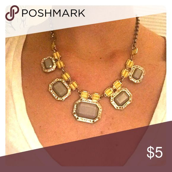 Grey and Yellow Statement Necklace Adjustable Necklace that will add a pop to any outfit! Jewelry Necklaces