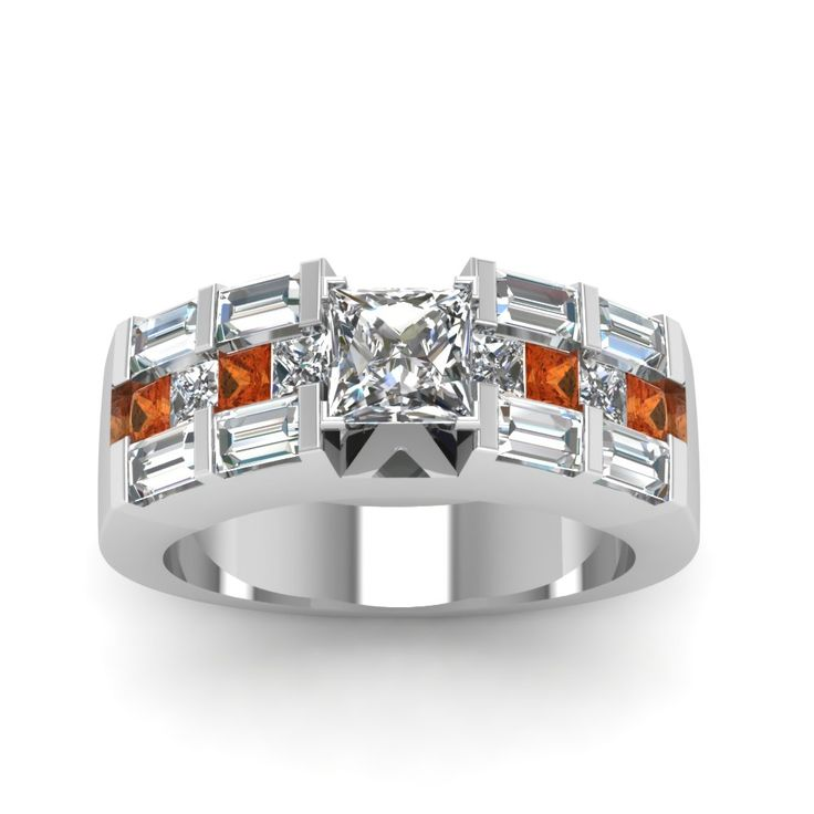 2.5 Ct. Princess Cut Channel Bar Set Diamond Expensive Engagement Rings with Orange Sapphire in 14K White Gold exclusively styled by Fascinating Diamonds