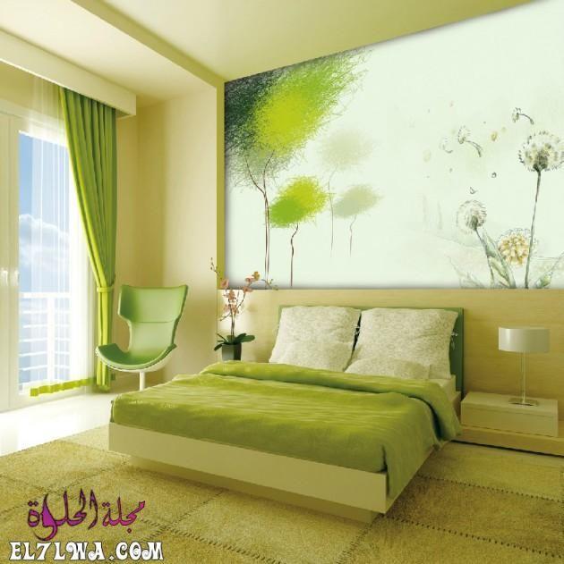 تتميز الوان دهانات حوائط 2021 بالتميز والتنوع الشديد من أجل أن ترضي جميع الأذواق وتتماشى مع طبيعة الاث Bedroom Green Green Interior Design Feature Wall Bedroom