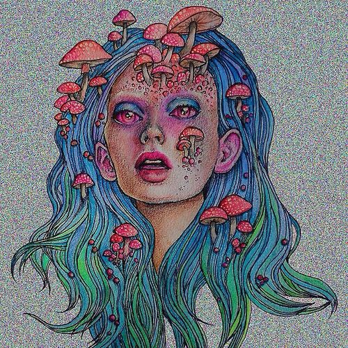 psychedelic trippy weed lsd dmt acid mushroom art