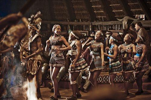 Zulu women doing a traditional dance.