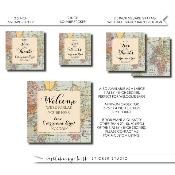 Destination wedding favor labels, travel theme stickers, map stickers, destination wedding ideas, travel wedding favor vintage wedding favor   SIZES These stickers or tags come in the following sizes and quantities: 2 square stickers ($6 for 12) 2.5 square stickers ($7.20 for 12) 3.75 by 4 stickers ($20 for 20) 2.5 tags (24 for $18)  Want more? Order multiple sets!  CUSTOM TEXT All text can be changed on this design. Please put your exact text in notes to seller upon checkout.  Free proofs…
