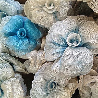 TURQUOISE SINAMAY FLOWER ((SECONDS)) - Great for millinery and craft. | eBay