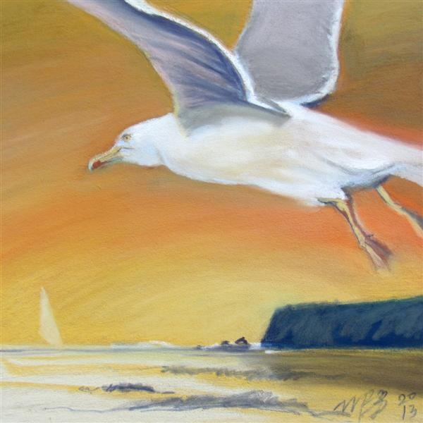 Take-off, soft pastel, now on exhibition at Mad Fish, Cronin's Pub, Crosshaven
