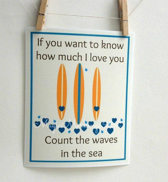 Surf art- beach nursery decor, inspirational quote, surfboard, love, turquoise blue