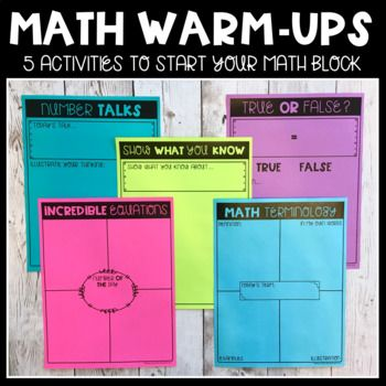 This resource includes 5 activities that can be used as Math Warm-Ups:1. Incredible Equations2. Number Talks3. Math Terminology4. True or False?5. Show What You KnowThese pages are all blank templates that can be filled in by the teacher and then copies, or filled out by students.