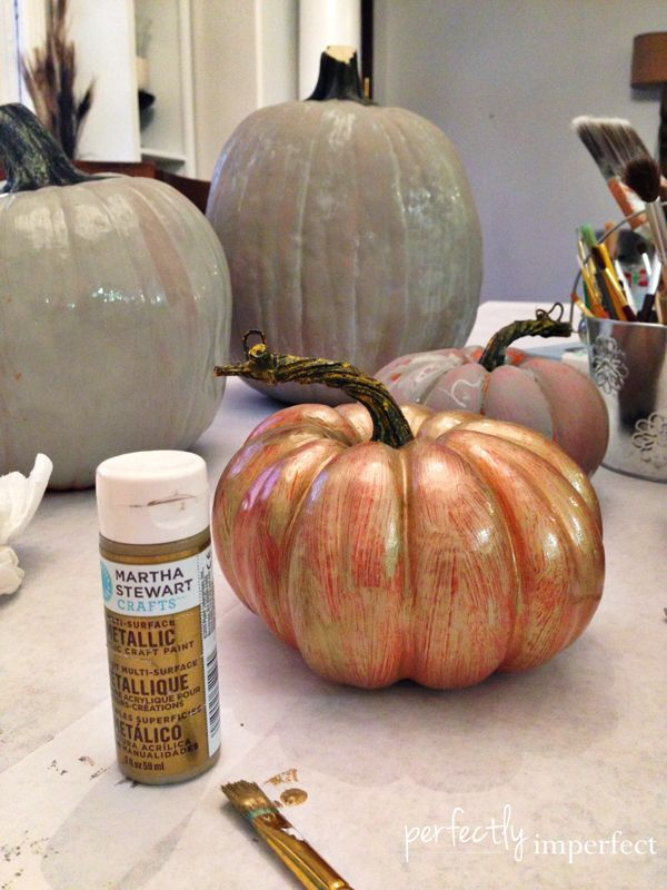 Painting Artificial Pumpkins with Chalk Paint   Perfectly Imperfect