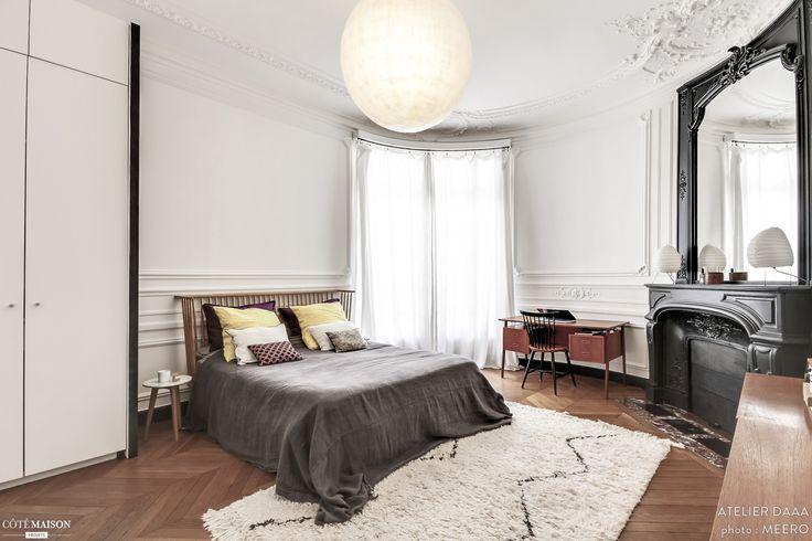 1000 idees sur le theme moulure plafond sur pinterest With peindre un parquet ancien en blanc 13 appartement haussmannien dans le centre de paris