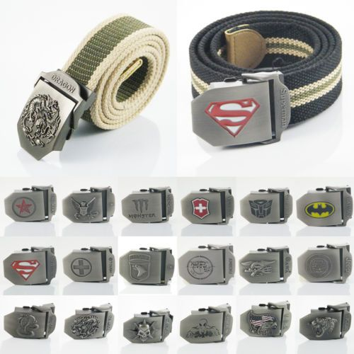 Stainless Steel Buckle Military Army Style Unisex Mens Womens Sports Canvas Belt