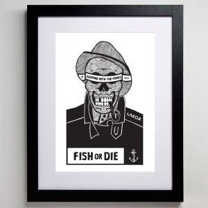 "With this artwork we declare our love to the Danish west coast. ""Fish or die"" is a play on the american expression ""Skate or die"", which iconically captures the soul of skateboarding as a lifestyle. In the same sense, to be a fisherman is a lifestyle. www.lakor.dk"