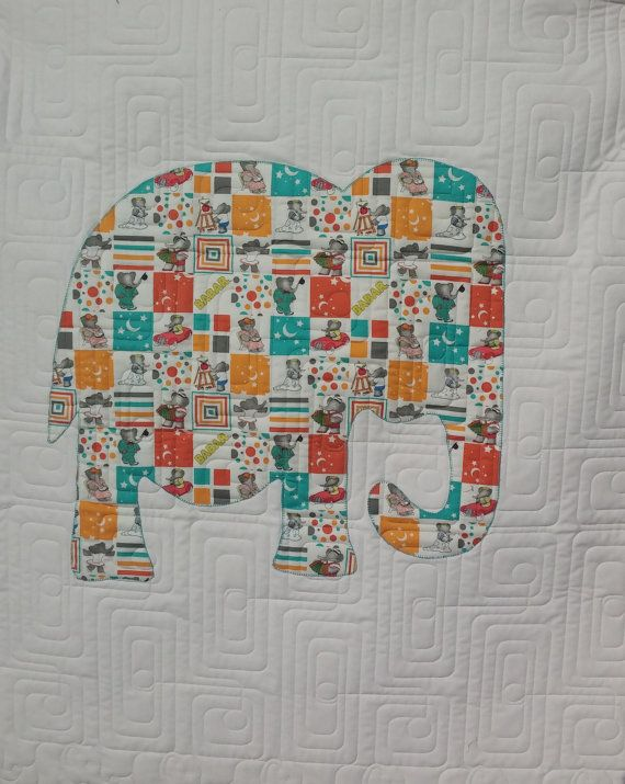 Elephant quilt - create your own special quilt - elephant from a fabric theme or colour - made to order.