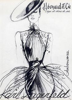 KarlLagerfeld__Mode__Dress__Zeichnung__Entwurf