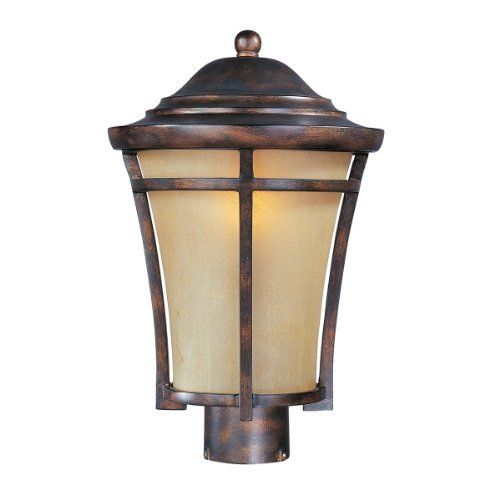 Maxim Lighting 40160GFCO Balboa Pole Post Mount Light, Copper by Maxim Lighting. $136.99. From the Manufacturer                Finish: Copper Oxide, Glass:Golden Frost, Light Bulb:(1)100w A19 Med F Incand Maxim Lighting's Beacon Hill VX Collection, a material twice the strength of resin, is non-corrosive, UV resistant and backed with a 3-Year Limited Warranty.                                    Product Description                Finish:Copper Oxide, Glass:Golden...